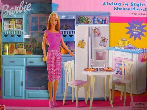 Barbie Dolls Hello Dreamhouse Dollhouse W Kitchen: Barbie Living In Style Kitchen Playset