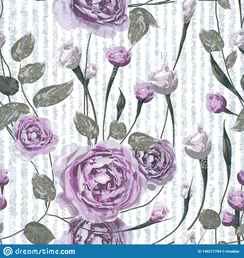 Purple Rose Flowers With Leaves On Striped Blue And White