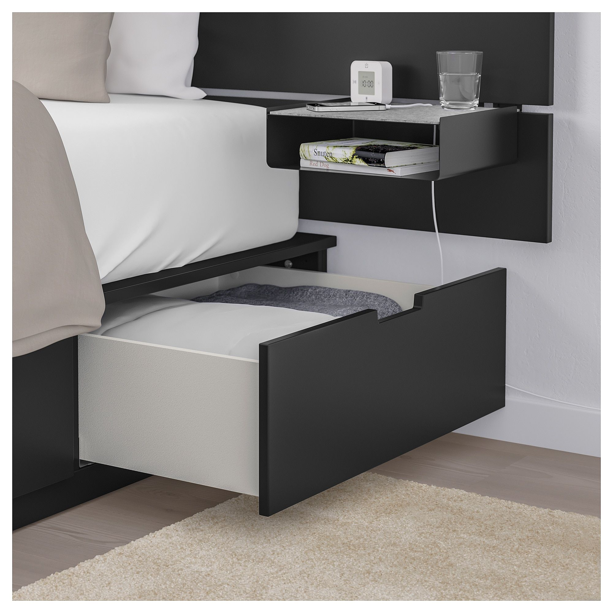 Bed With Headboard And Storage Nordli Anthracite Products