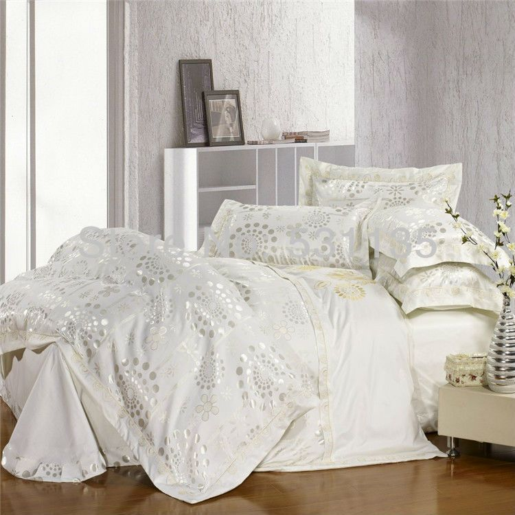 White Jacquard Bedding Set Silver And Gold Forever Home