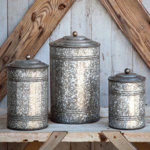 Galvanized Metal Canisters From Amazon.