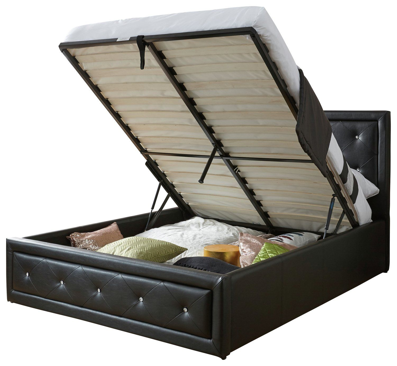 Buy Hollywood Ottoman Kingsize Bed Frame Black Bed Frames In 2020 Crushed Velvet Ottoman Bed Frame Black Bedding