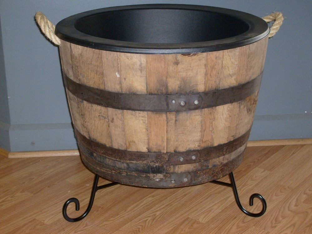 Half White Oak Whiskey Barrel Planter With Rope Handles Plastic Liner Iron Stand Barrel Planter Whiskey Barrel Planter Whiskey Barrel