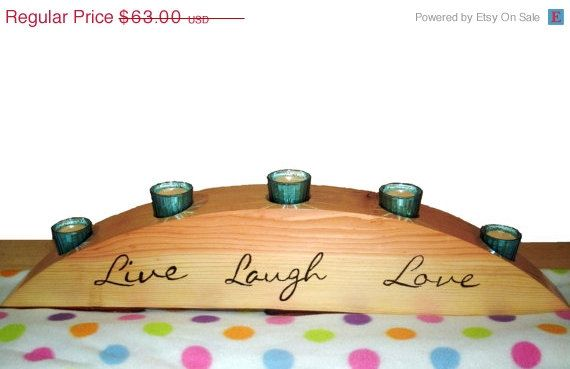 CIJ SALE Wood Candle Holder Live Laugh by BillsWoodenPleasures, $56.70