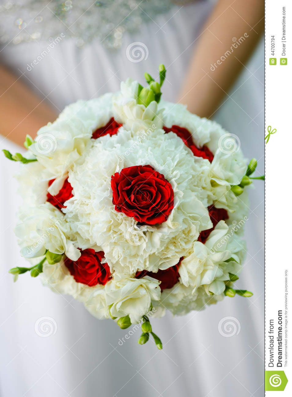 Beauty Wedding Bouquet Of Red Roses And White Flowers