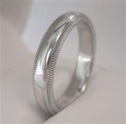 Platinum 4mm Milgrain Wedding Band Ring 7