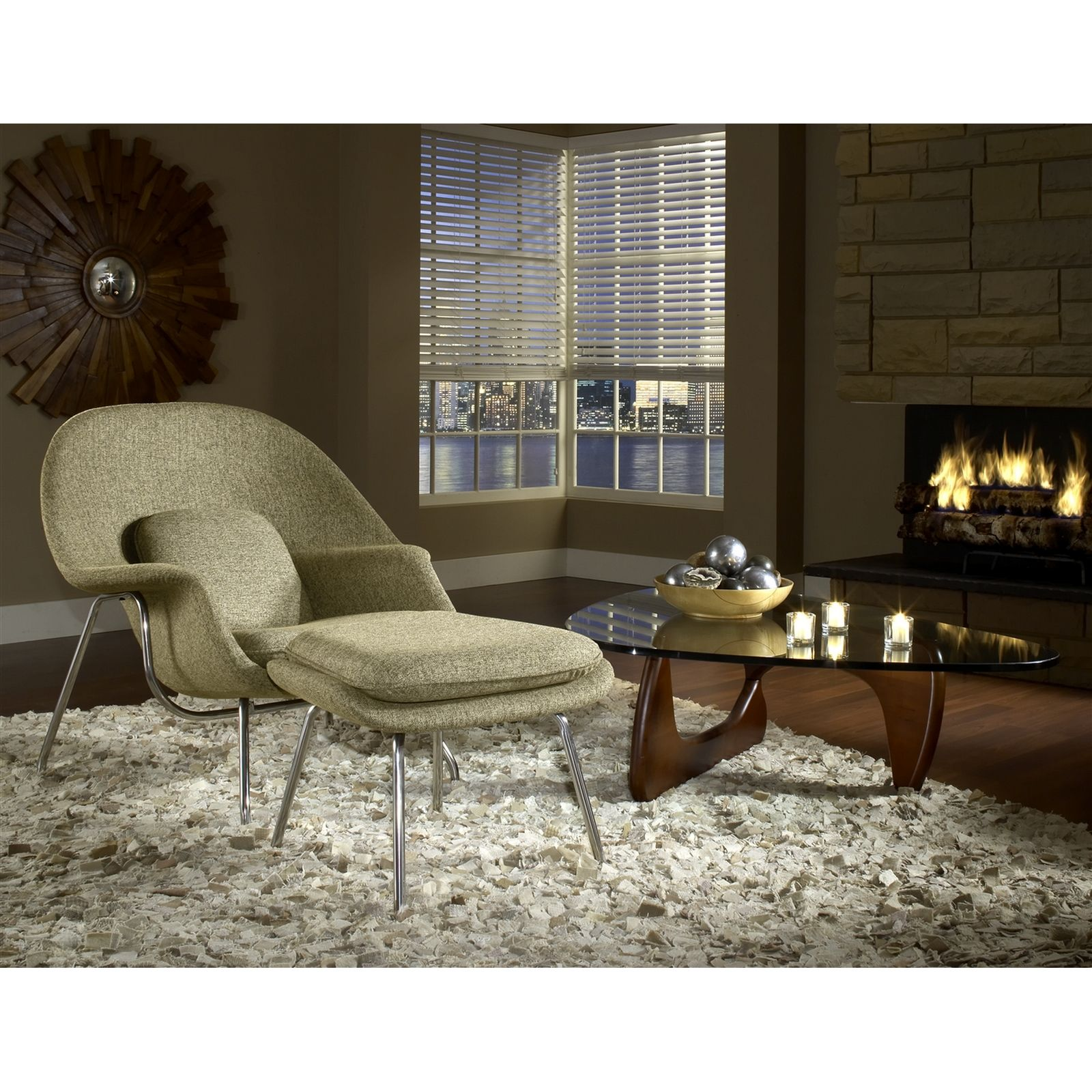 Eero Saarinen Style Womb Chair Ottoman Set in Oatmeal Isamu