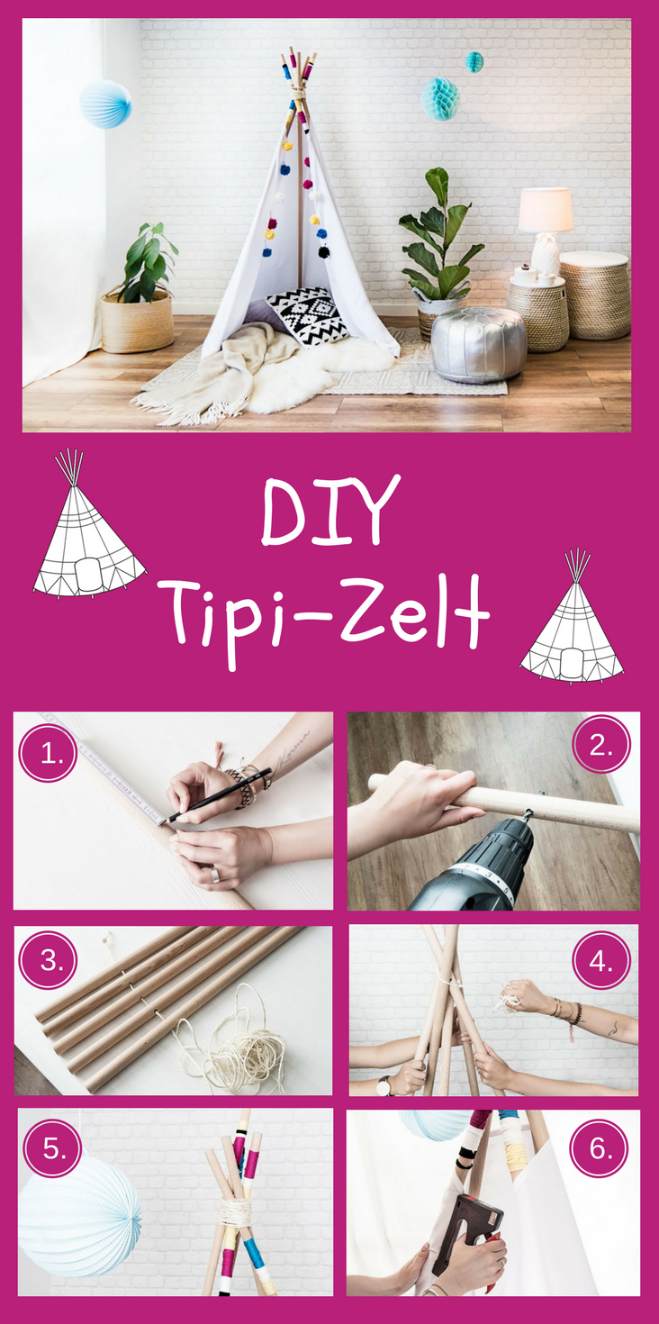 diy tipi zelt zelt kinderzimmer tipi zelt und holzst bchen. Black Bedroom Furniture Sets. Home Design Ideas