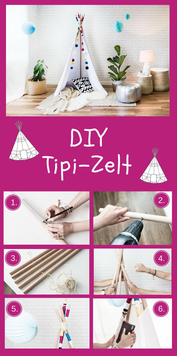 DIY Tipi-Zelt | Zelt kinderzimmer, Tipi zelt und Holzstäbchen