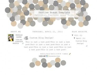 Festive Bokeh 3col Free Cute Blog Template Layout