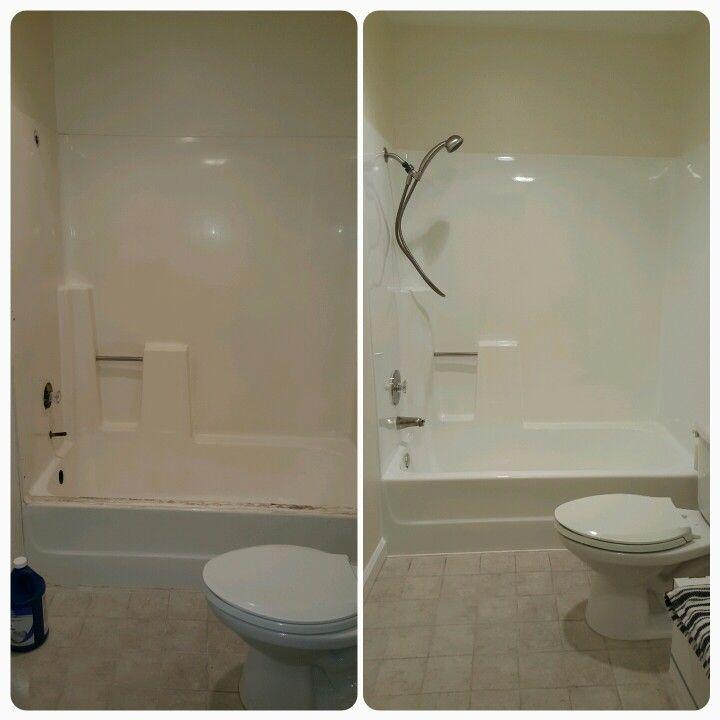 Fiberglass tub/showers look amazing after bathtub reglazing. New ...