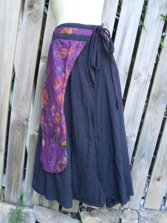wrap around tribal cotton skirt...50'' across plus by Slipnaway