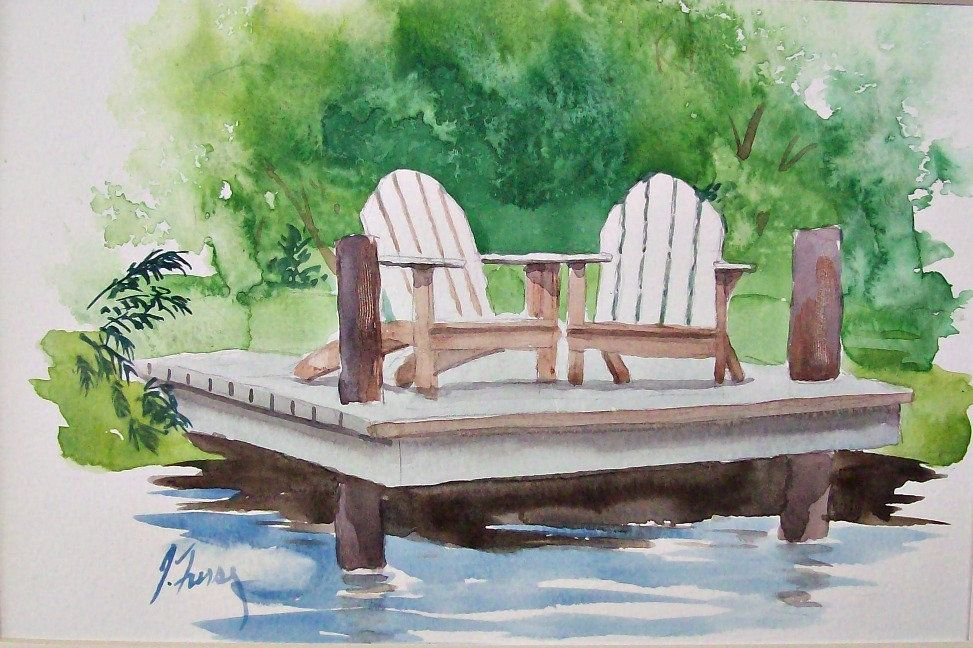 Adirondack Chairs Original Watercolor Painting Lakeside Deck With