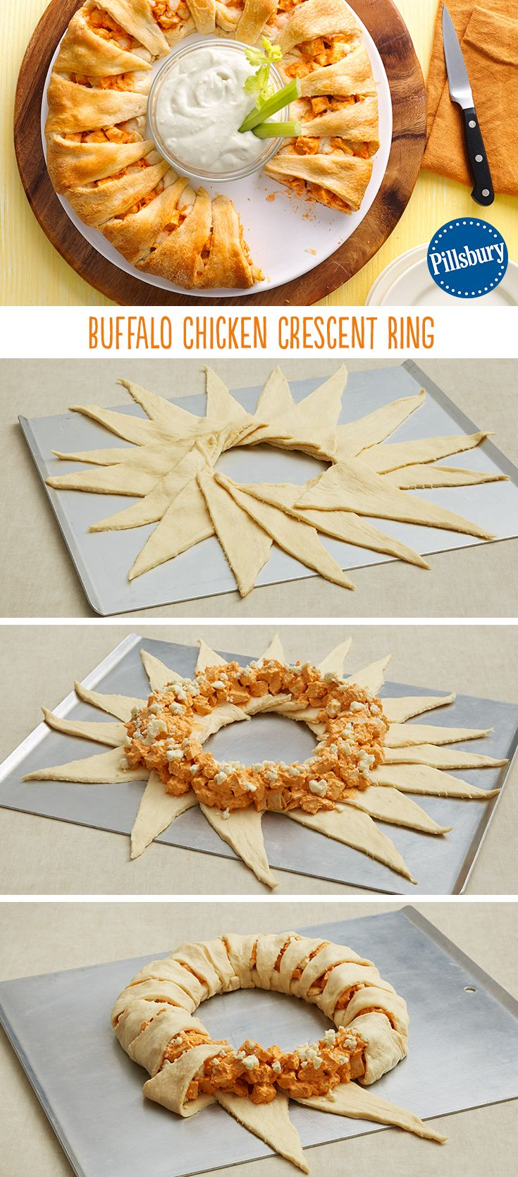 Buffalo Chicken Crescent Ring #gamedayfood