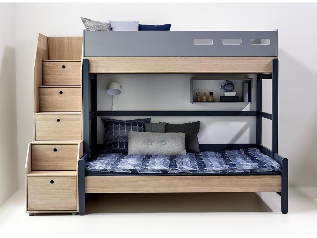flexa popsicle 3er etagenbett mit stauraum treppe blueberry 90x200cm 90 10764 32 jetzt bestellen - Coolste Etagenbetten