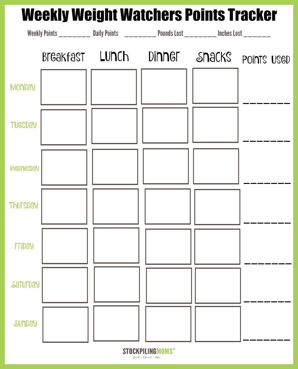 Weight Watchers Weekly Points Tracker Free Printable