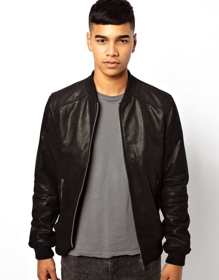 ed6327c6 Pin by Lookastic on Men's Leather Jackets | Black leather bomber jacket,  Bomber jacket, Black bomber jacket