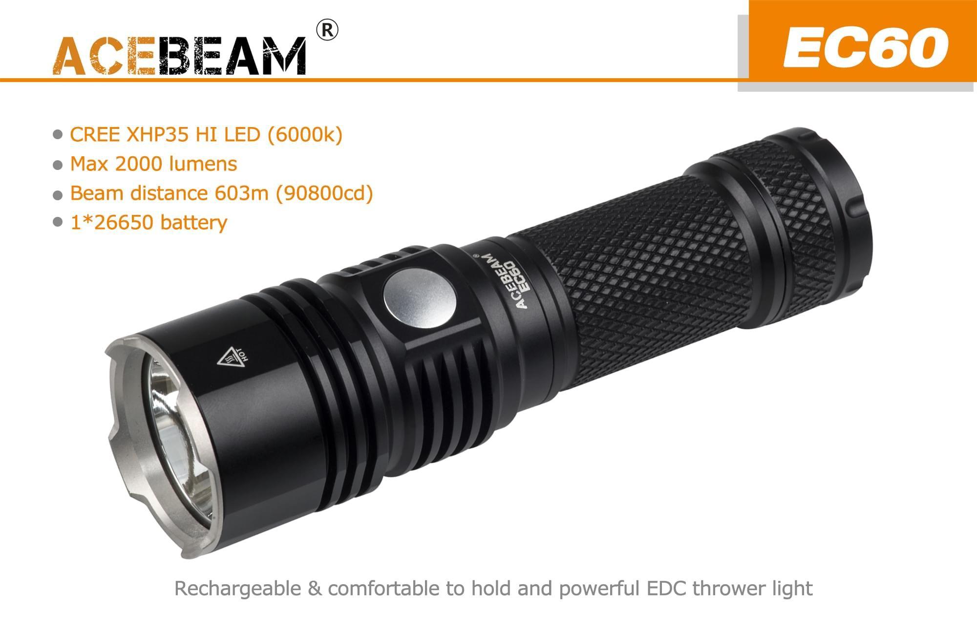 Battery ACEBEAM EC60 Cree XHP35 HI LED USB Rechargeable EDC Flashlight Torch