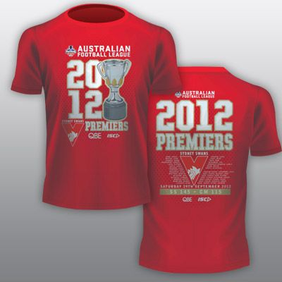 Swanshop - Sydney Swans ISC Red 2012 Premiers Tee - Adults *Reduced* $35