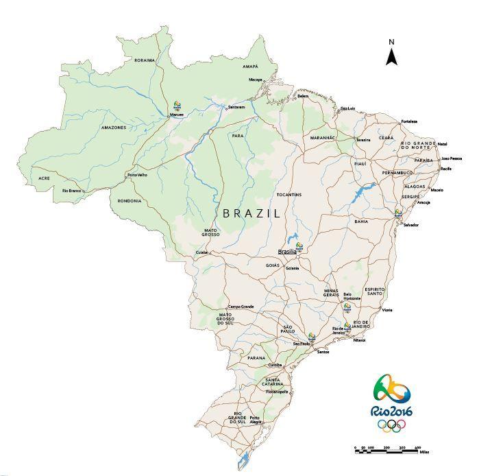 Map Brazil 2016 Olympic Games Rio de Janeiro. Vector map ...