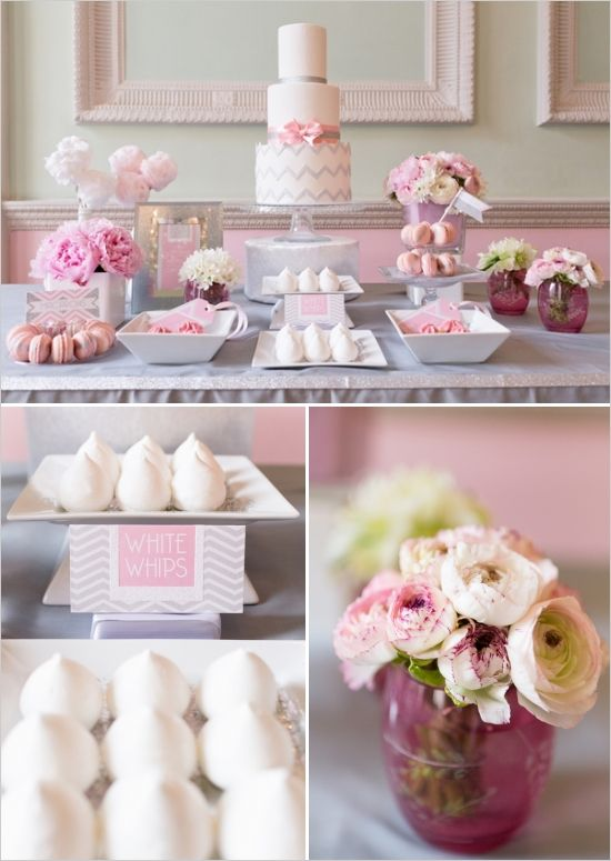 Pink And Silver Chevron Cake Table Ideas Cake Table Decorations Wedding Cake Table Wedding Table Designs