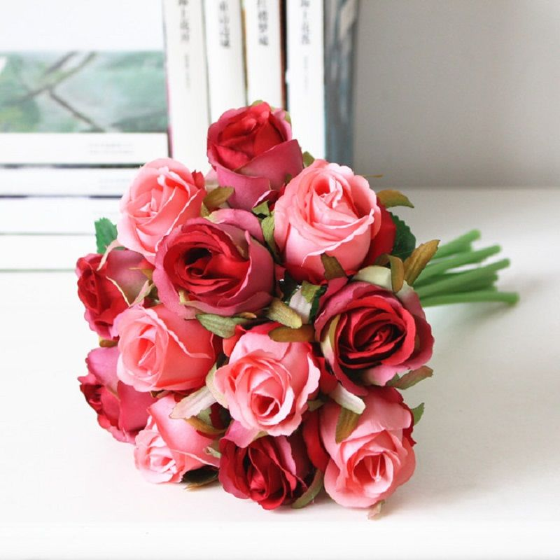 Click to Buy << A Bunch Of Roses/12 Flowers DIY Artificial Flower ...