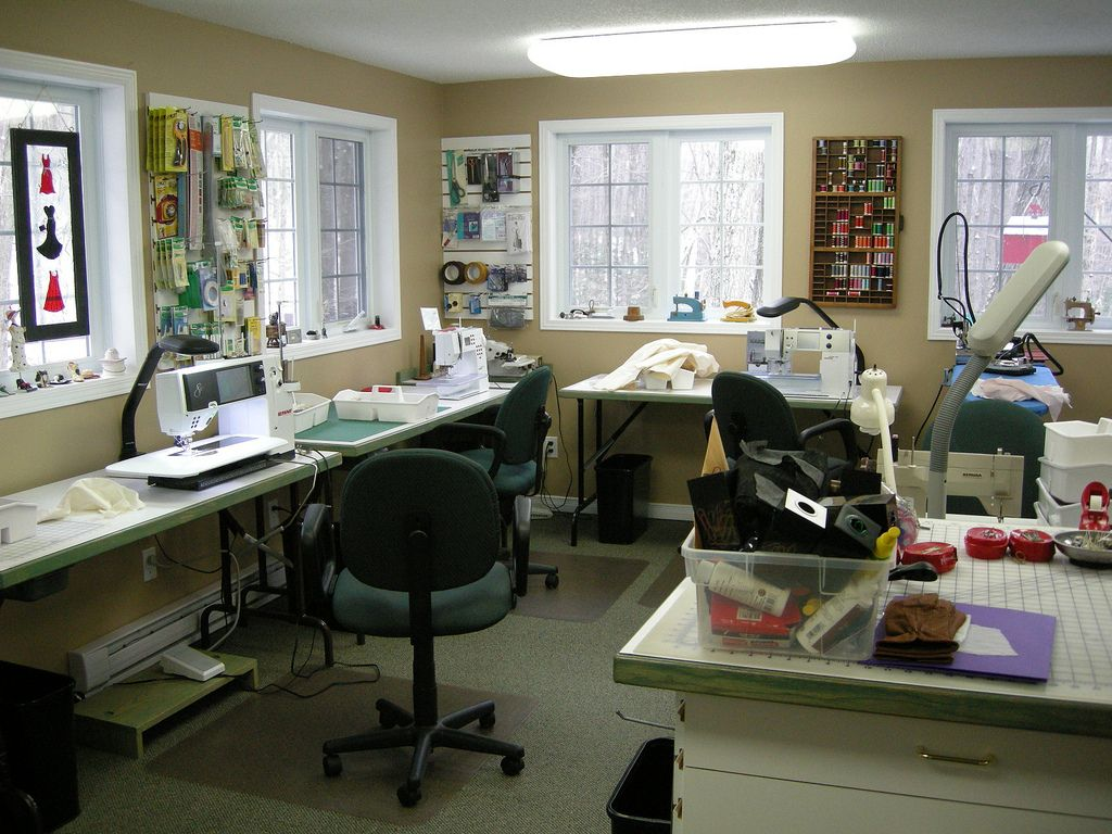 Stained glass studio layout google search studios for Sewing room layout