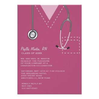 ff2cacd7da0 Scrubs Burgundy Medical Graduation Invitation. This burgundy scrub design  is perfect for any graduate in the medical field. The scrub features  detailed ...