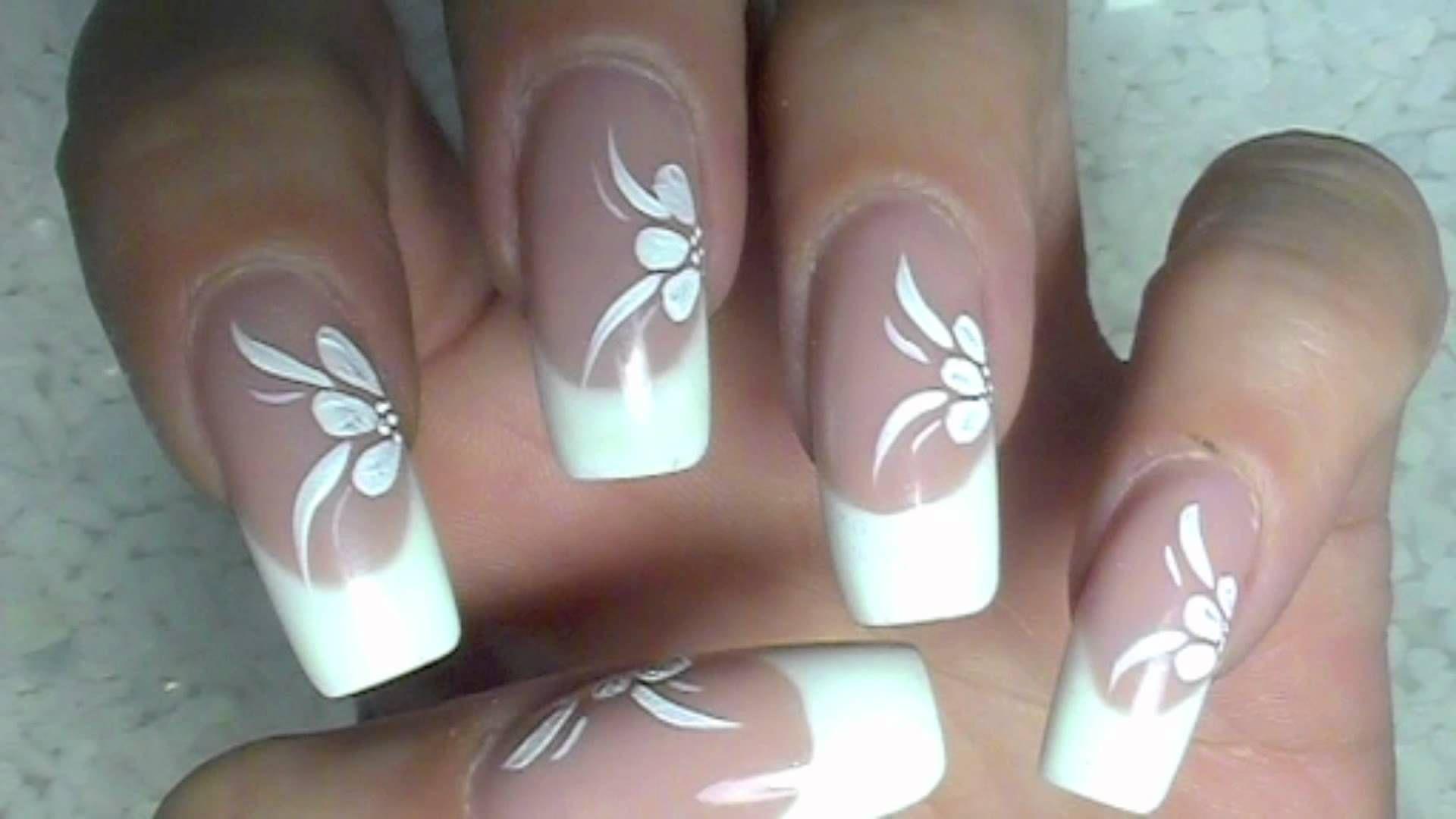 NailArt Design Tutorial - weisse blumen mit acrylmalfarbe - flowers ...