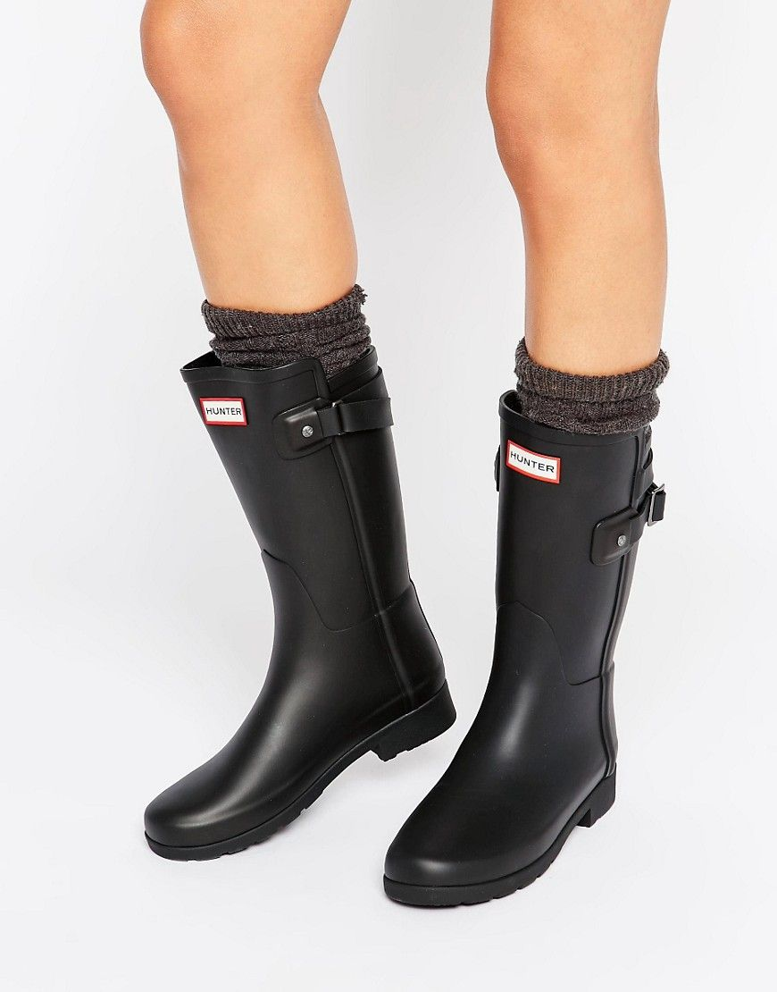3b8b54c5bbb Hunter Refined Back Strap Black Short Wellington Boots | For Me in ...