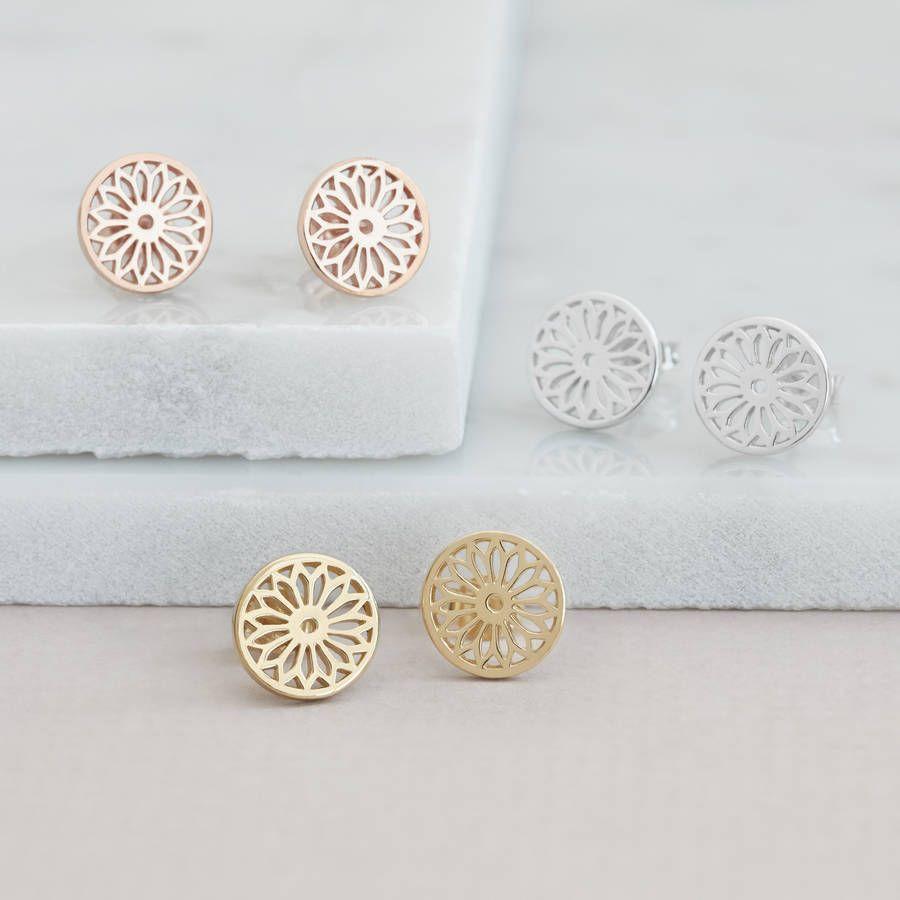 trending jewels Silver Dreamcatcher Stud Earrings with Genuine Stone