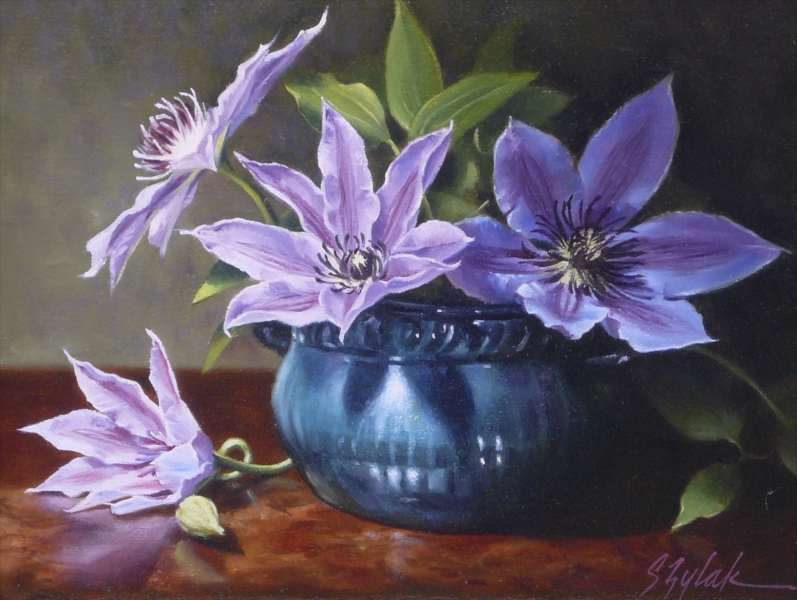 """""""Clematis"""" by Sue Zylak. 8"""" x 10"""" Oil. Available at Maine Art Paintings & Sculpture. www.maine-art.com."""
