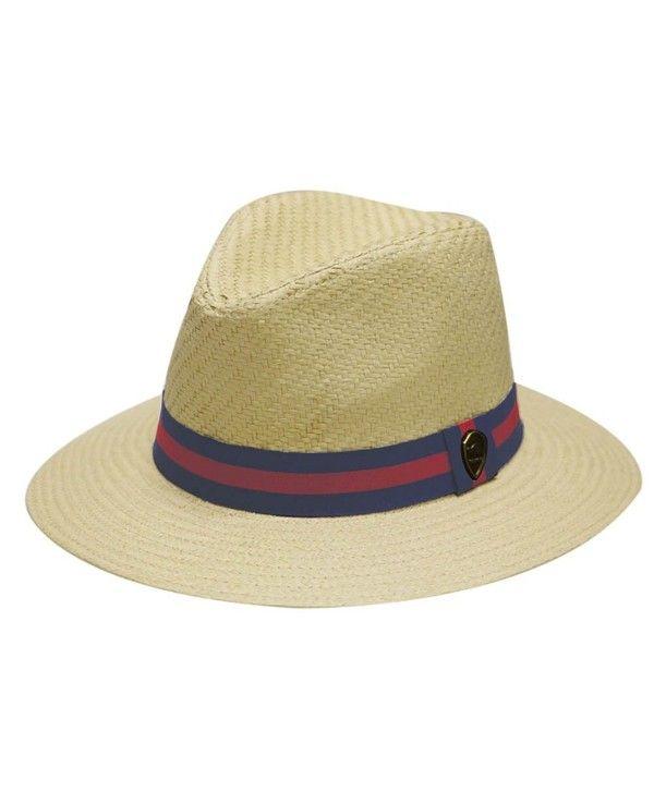 a543ab51436 Pamoa Unisex Pms480 Band Wide Brim Straw Fedora Hats (3 Colors ...