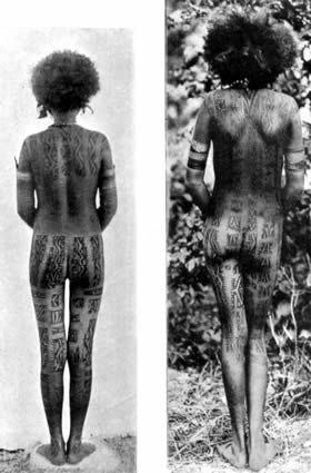 """Two Motu women with back tattooing, ca. 1915. Kaiakaro designs on the spine or waist comprise an abstract """"star"""" motif like a Maltese or St. Andrews cross. The motif is related to flight and may also represent the brilliant colors of certain butterflies from the region. Gado tattoos appear on the upper shoulders and buttocks and resemble serpents slithering downwards and horizontally."""