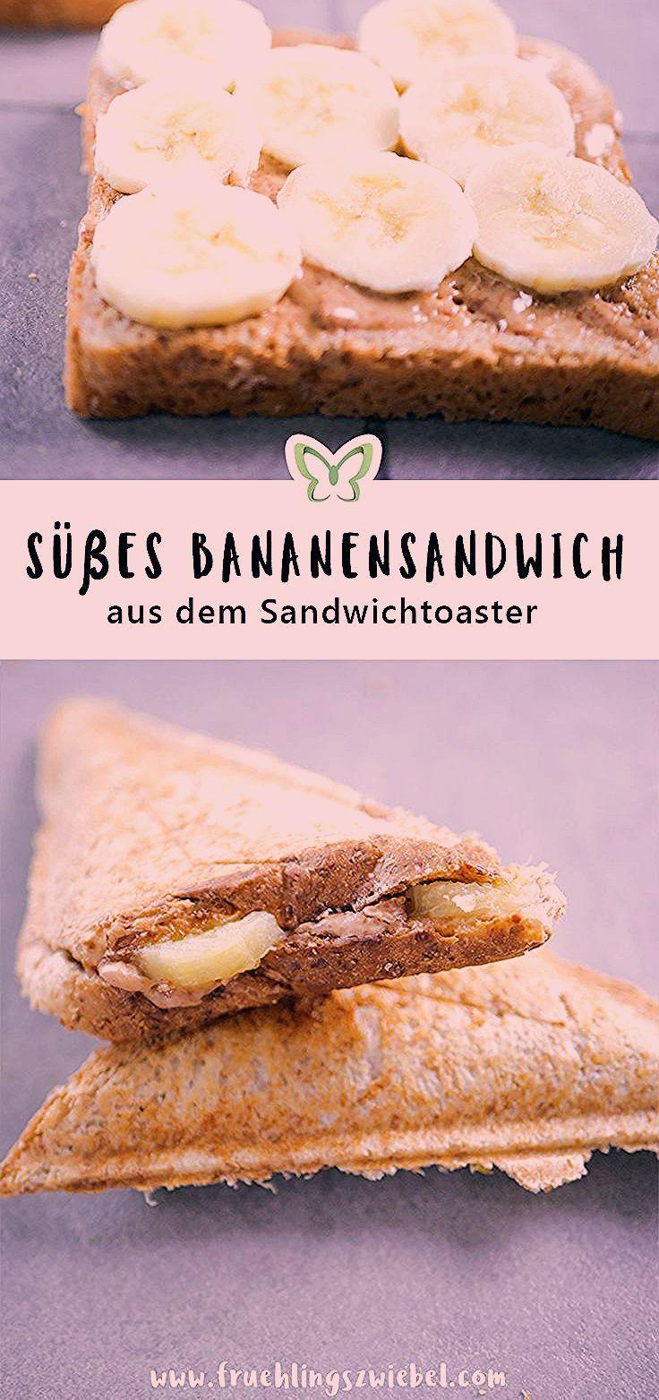 Leckere, kalorienarme Rezepte aus dem Sandwichmaker - Bananen-Erdussbutter-Toast. Dieses süße Sandwi...