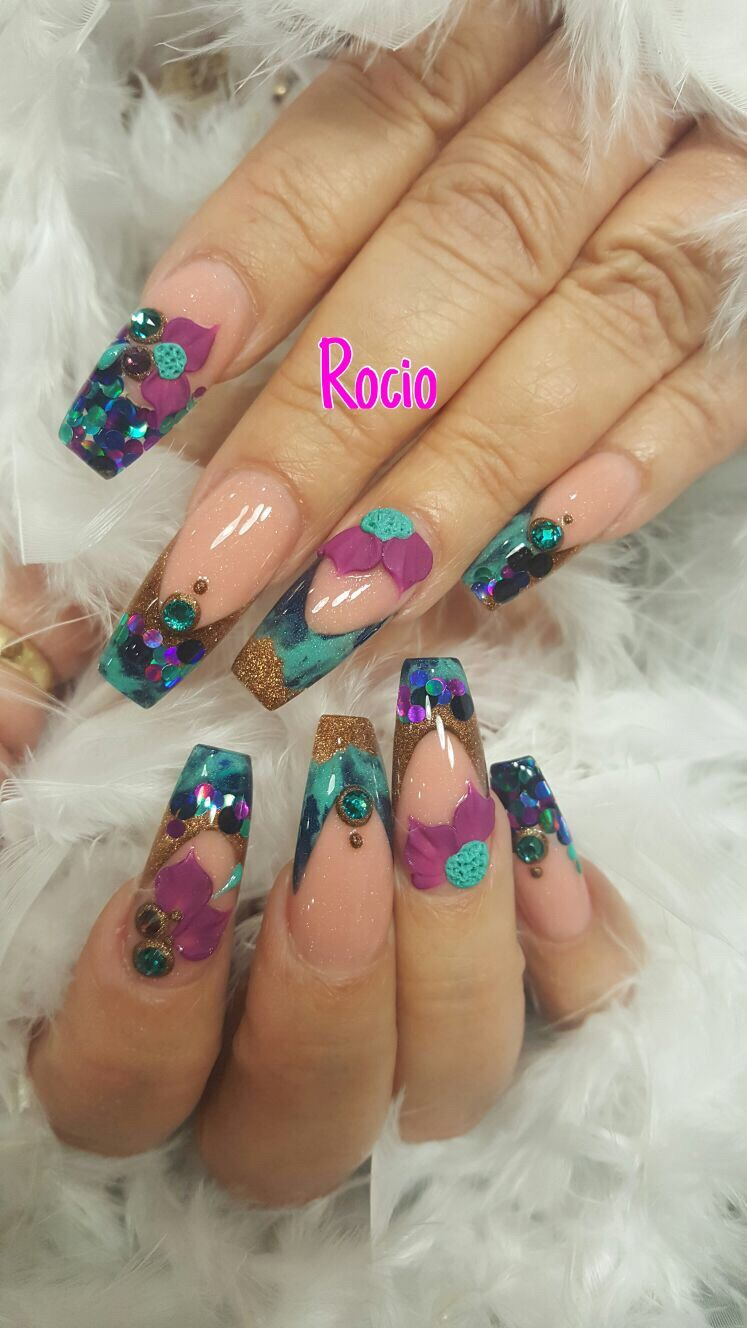 Encapsulated coffin nails with 3D design. | Tips&Toes | Pinterest ...