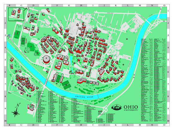 Athens Campus Map.Ohio University Ohio University Map Cool Ohio Campus Map