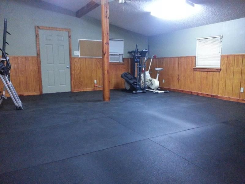 Rubber horse stall mats used as flooring for home gym