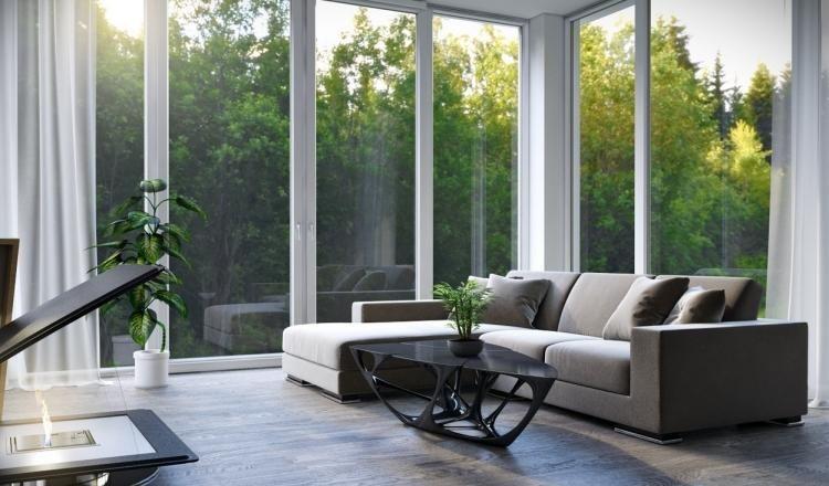 wohnzimmer-einrichten-eckcouch-grau-couchtisch-modern-glasfronten - gardine wohnzimmer modern