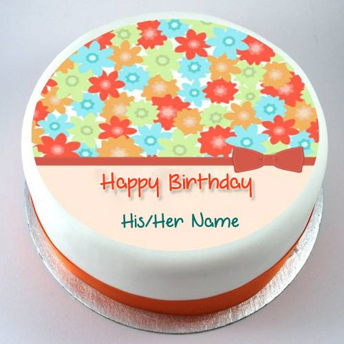 Colourful Flowers Beautiful Birthday Cake With Name Write Name on