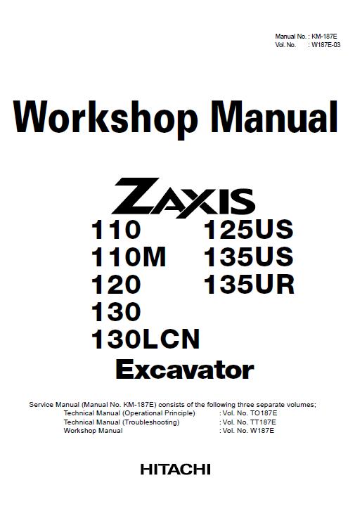 Hitachi Zx110 Zx110m Zx120 Zx130 Zx130lcn Excavator Service Manual Excavator Hitachi Manual
