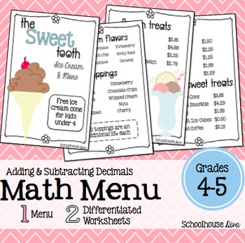 A cute and fun word problem math activity to engage your students!Included:*  The Sweet Tooth restaurant menu (both color & BW included!)*  2 differentiated worksheets*  Answer KeysThe following topic is covered in this activity:* Addition and Subtraction of Decimals (money)This activity measures student's real world problem solving and reasoning skills.