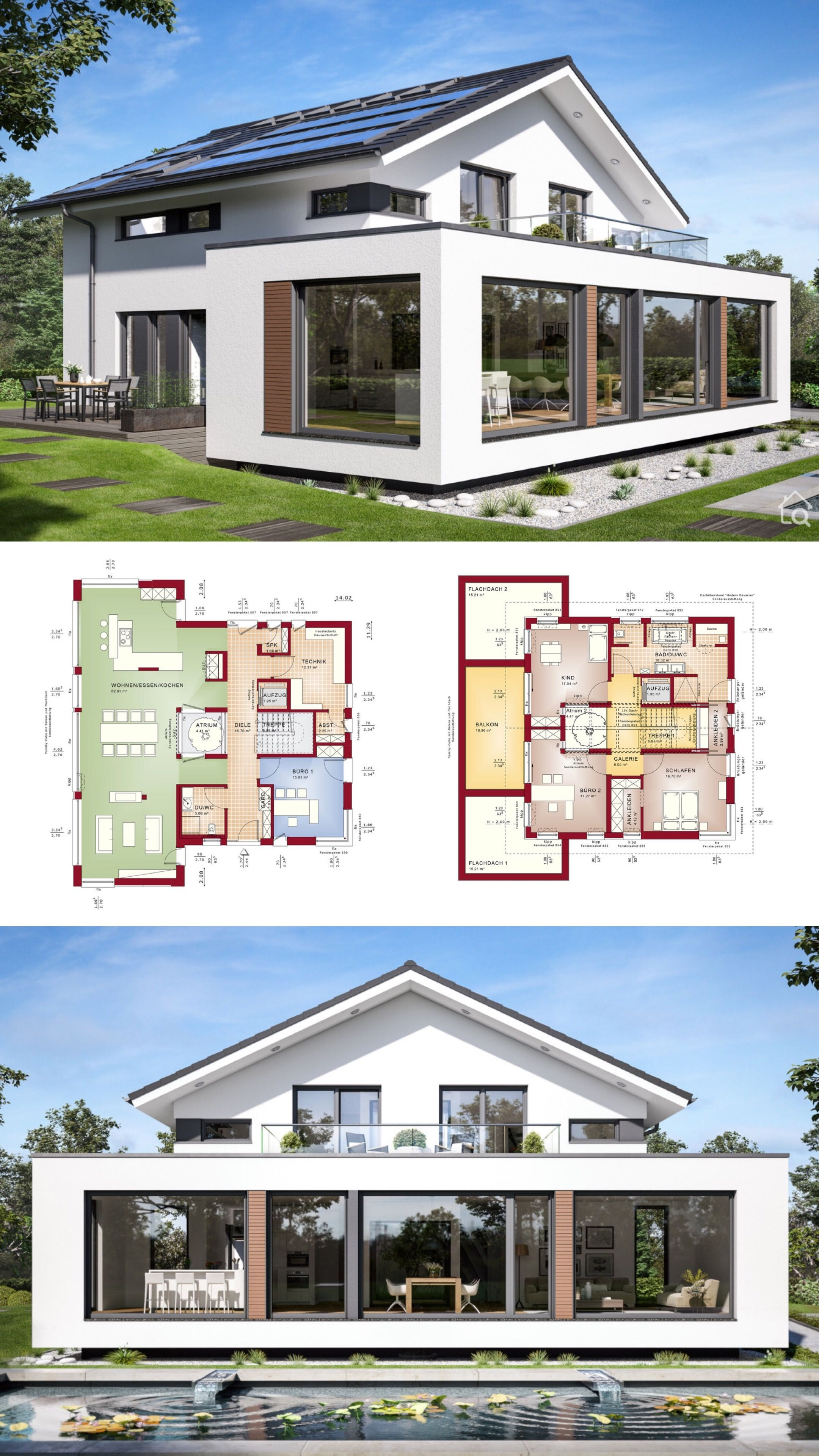 Einfamilienhaus Architektur Modern Mit Satteldach Patio Galerie Grundriss Offen 5 Zimmer 250 Qm Gross Aufzug Haus Architektur Architektur Haus Haus Plane