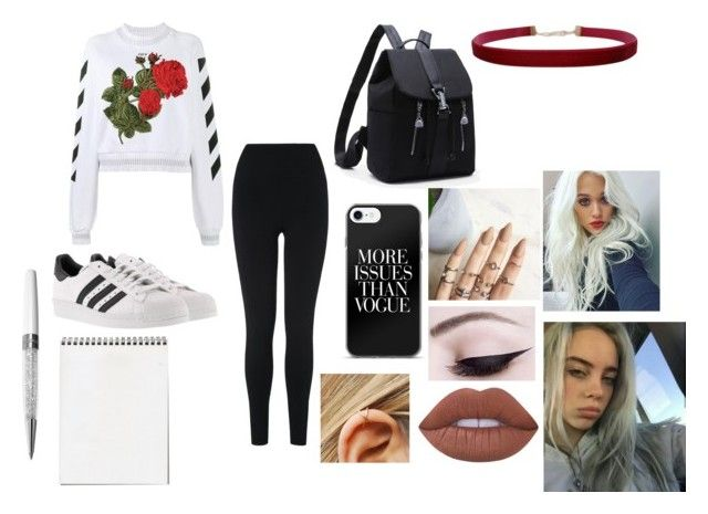 """Untitled #327"" by xxmistakexx on Polyvore featuring Off-White, L.K.Bennett, adidas, Humble Chic, Lime Crime and Swarovski"