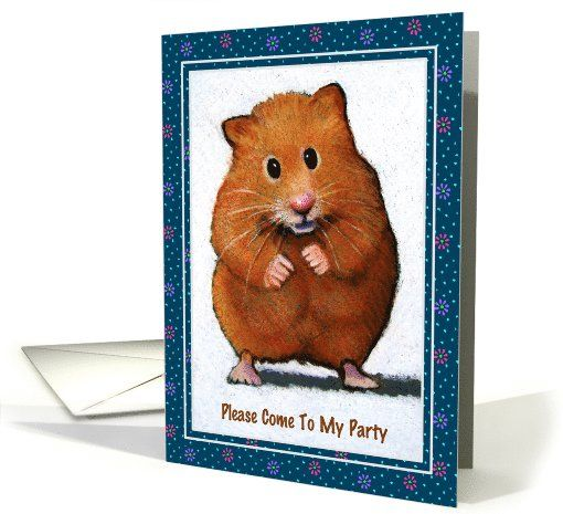 Cute Hamster: Please Come To My Party: Invitation: Color