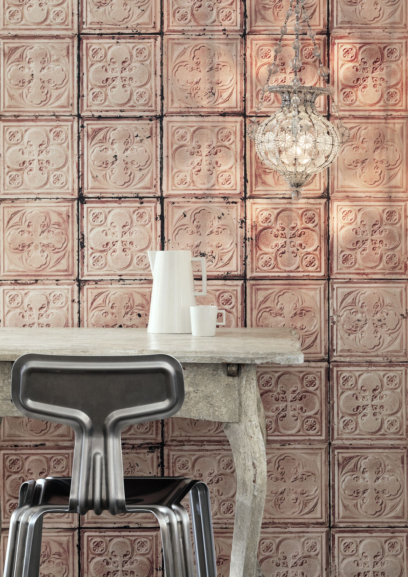 Great Wallpapers that look like vintage tin tiles by Merci