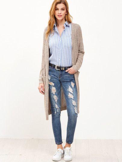 24c4f8f3ad9a7d Tops Shop loves by Color. Khaki Drop Shoulder Cardigan With Pockets