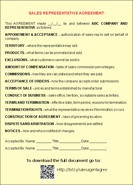Sales Representative Agreement Template  This Image Shows An