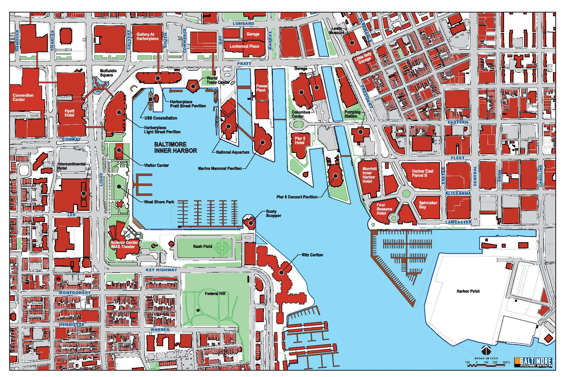 Baltimore Harbor Map - Baltimore MD US • mappery   Baltimore ...