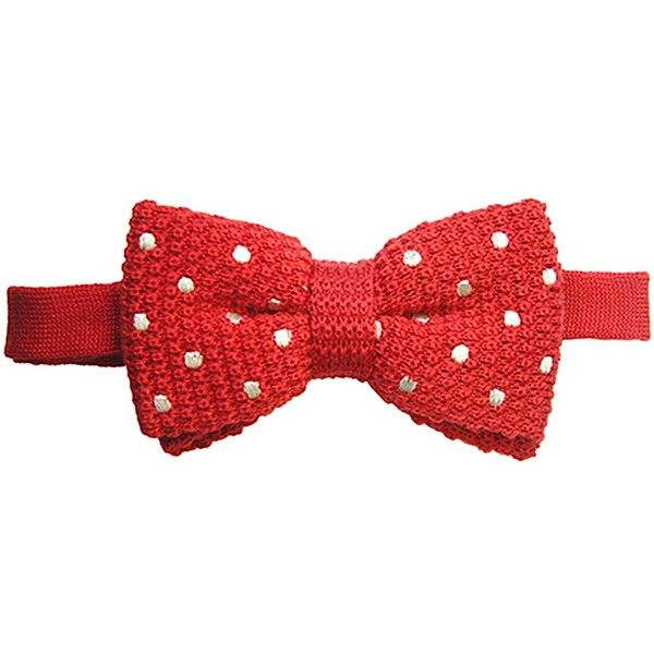 TYLER & TYLER - Red & White Spot Knitted Wool Bow Tie ($42) ❤ liked on Polyvore featuring men's fashion, men's accessories, men's neckwear and bow ties